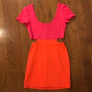 Lucca Couture Pink and Orange Bodycon Dress